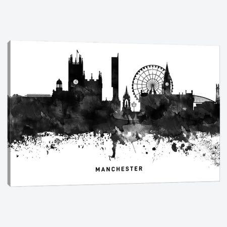 Manchester Skyline Black & White Canvas Print #WDA803} by WallDecorAddict Canvas Print