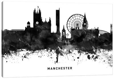 Manchester Skyline Black & White Canvas Art Print