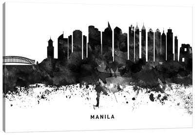 Manila Skyline Black & White Canvas Art Print