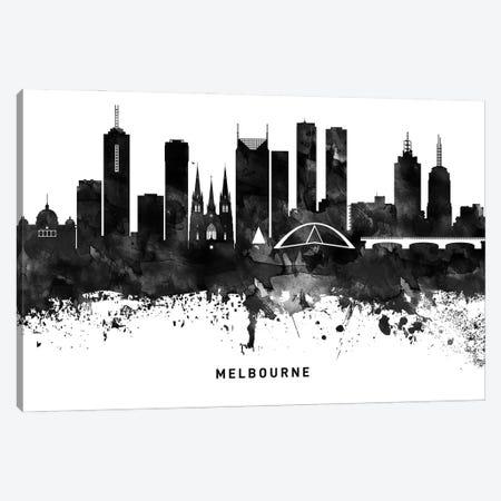 Melbourne Skyline Black & White Canvas Print #WDA805} by WallDecorAddict Canvas Wall Art