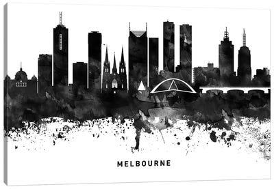 Melbourne Skyline Black & White Canvas Art Print
