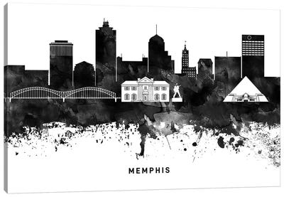 Memphis Skyline Black & White Canvas Art Print