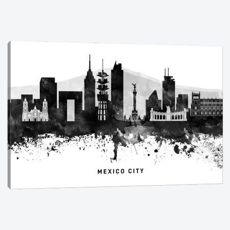 Mexico City Skyline Black & White Canvas Print #WDA807} by WallDecorAddict Canvas Art