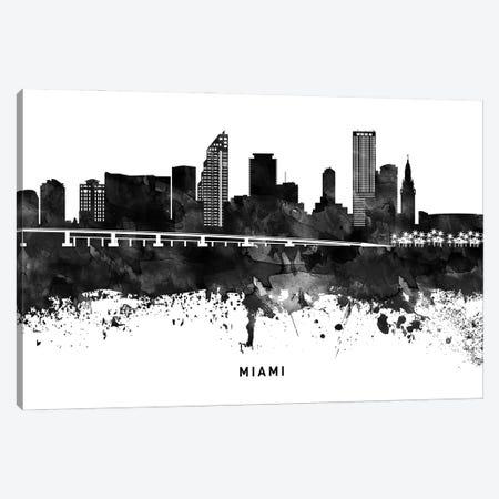 Miami Skyline Black & White Canvas Print #WDA808} by WallDecorAddict Canvas Art Print