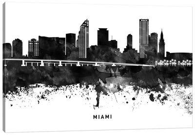 Miami Skyline Black & White Canvas Art Print