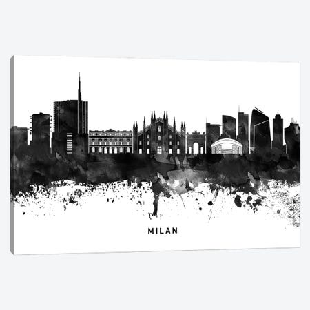 Milan Skyline Black & White Canvas Print #WDA809} by WallDecorAddict Canvas Print