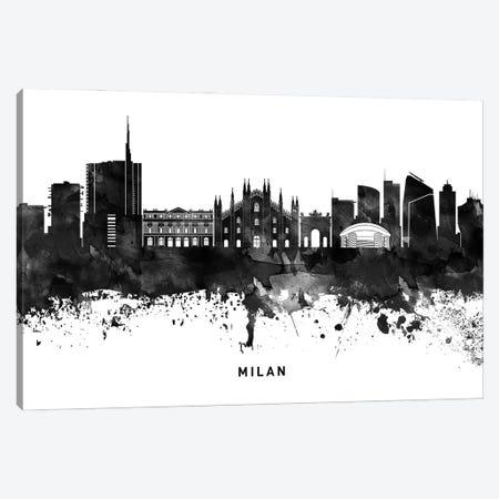 Milan Skyline Black & White Canvas Print #WDA809} by WallDecorAddict Canvas Print