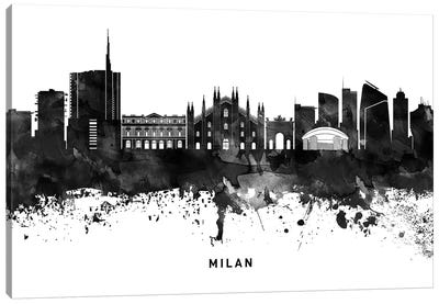Milan Skyline Black & White Canvas Art Print