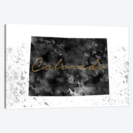 Colorado Black And White Gold Canvas Print #WDA80} by WallDecorAddict Canvas Art Print