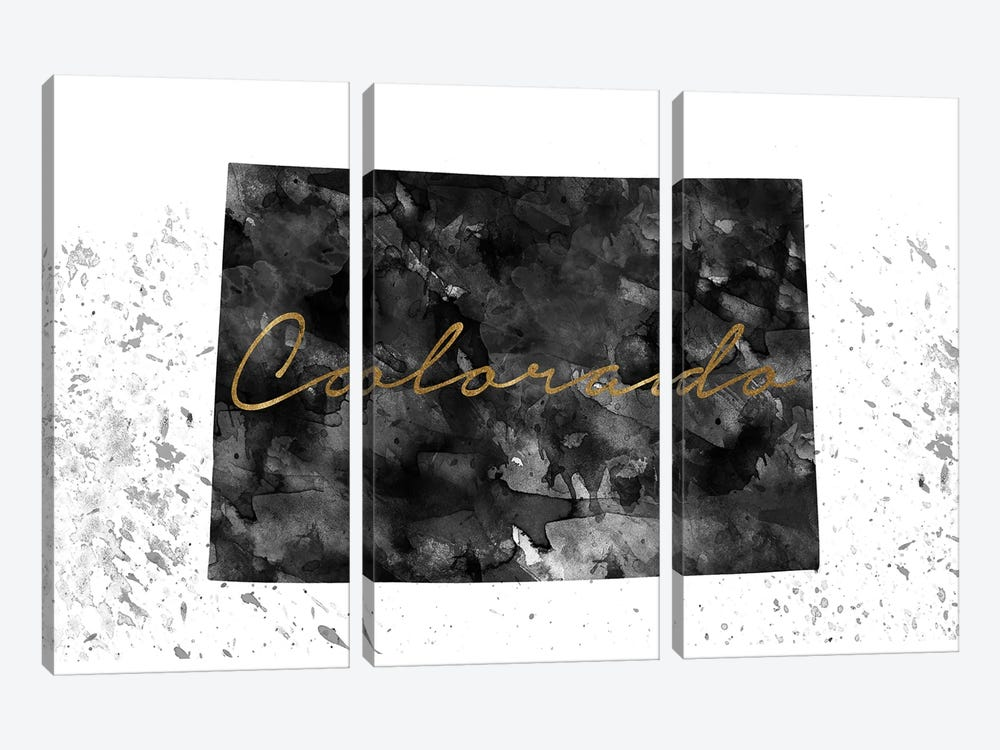 Colorado Black And White Gold 3-piece Canvas Print