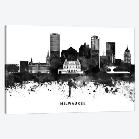 Milwaukee Skyline Black & White Canvas Print #WDA810} by WallDecorAddict Canvas Artwork
