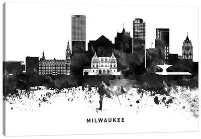 Milwaukee Skyline Black & White Canvas Art Print