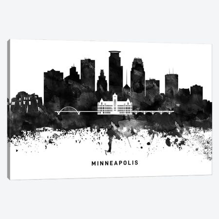 Minneapolis Skyline Black & White Canvas Print #WDA811} by WallDecorAddict Canvas Art