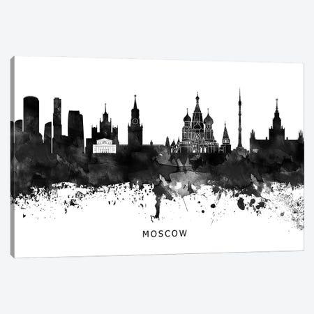 Moscow Skyline Black & White Canvas Print #WDA813} by WallDecorAddict Canvas Wall Art