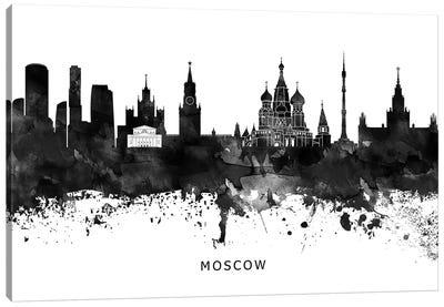 Moscow Skyline Black & White Canvas Art Print
