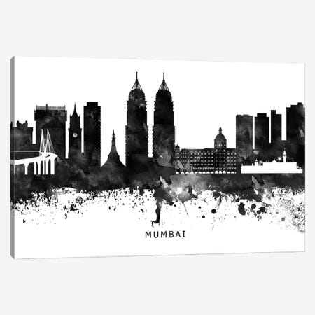 Mumbai Skyline Black & White Canvas Print #WDA814} by WallDecorAddict Canvas Print