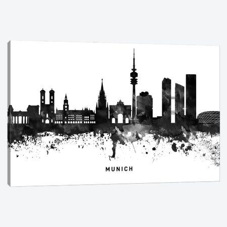 Munich Skyline Black & White Canvas Print #WDA815} by WallDecorAddict Art Print