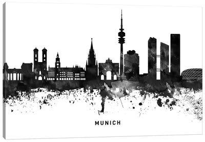 Munich Skyline Black & White Canvas Art Print