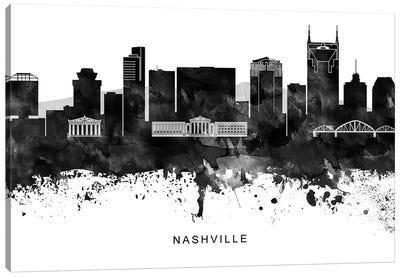Nashville Skyline Black & White Canvas Art Print