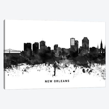 New Orleans Skyline Black & White Canvas Print #WDA818} by WallDecorAddict Canvas Wall Art