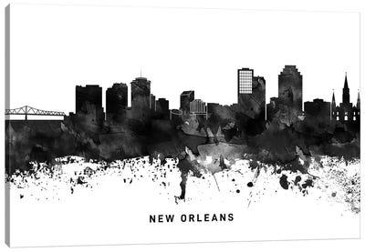 New Orleans Skyline Black & White Canvas Art Print