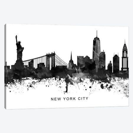 New York Skyline Black & White Canvas Print #WDA819} by WallDecorAddict Canvas Wall Art