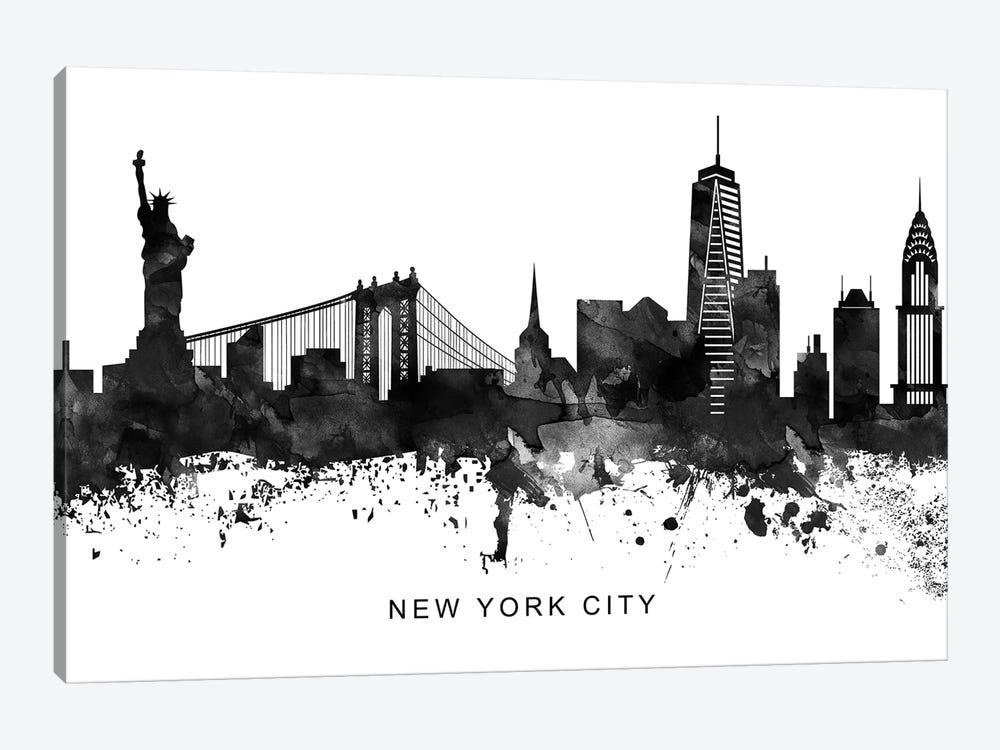 New York Skyline Black & White by WallDecorAddict 1-piece Canvas Artwork