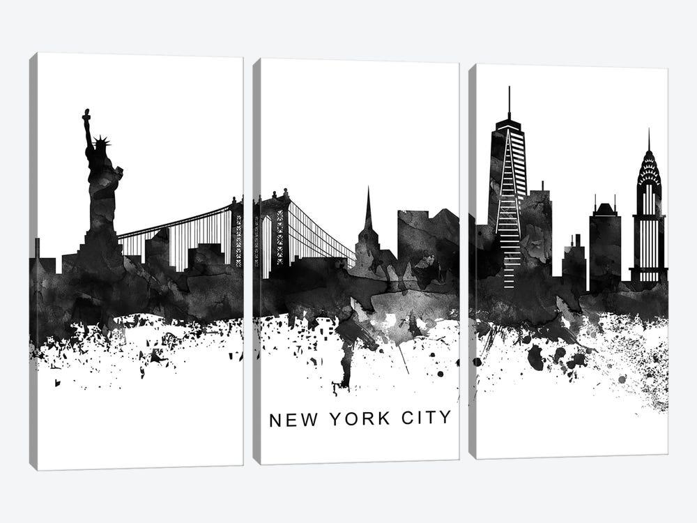 New York Skyline Black & White by WallDecorAddict 3-piece Canvas Artwork