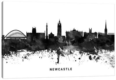 Newcastle Skyline Black & White Canvas Art Print