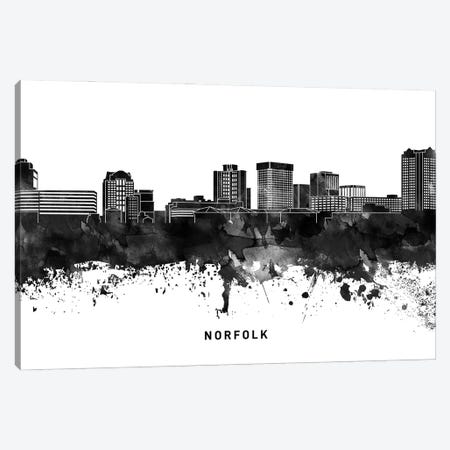 Norfolk Skyline Black & White Canvas Print #WDA821} by WallDecorAddict Canvas Art Print