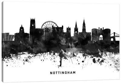 Nottingham Skyline Black & White Canvas Art Print