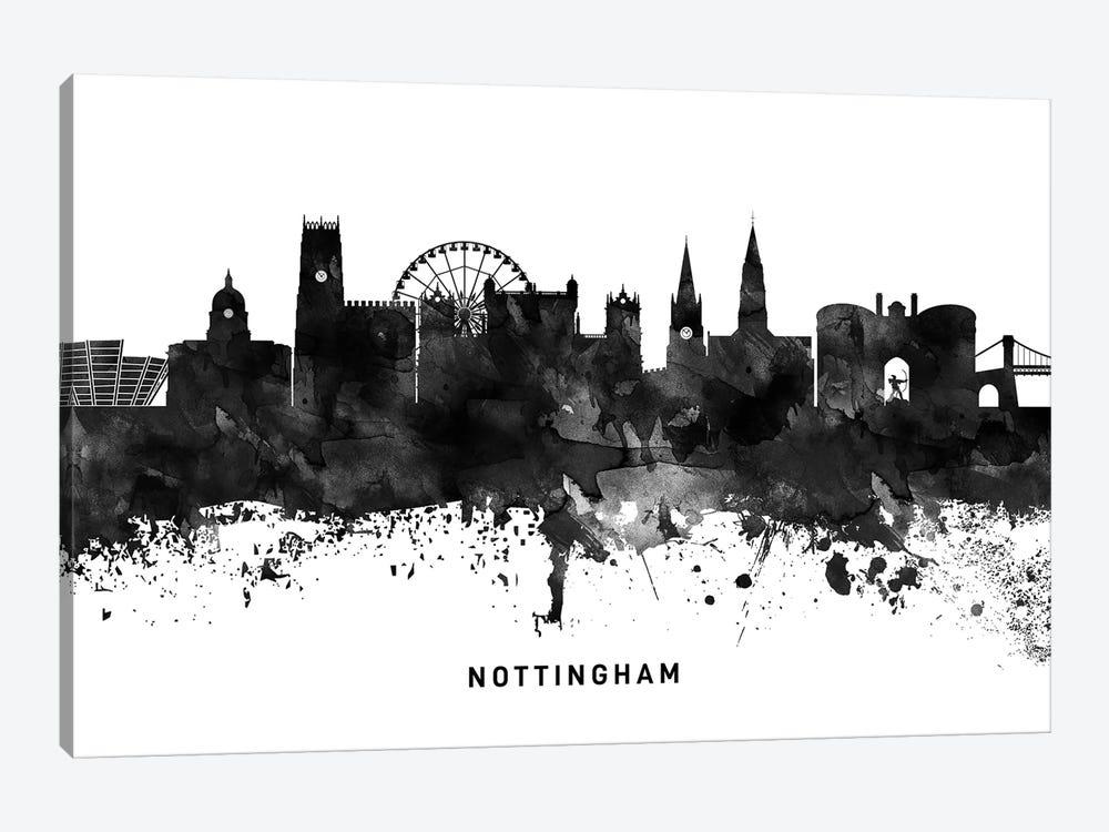 Nottingham Skyline Black & White by WallDecorAddict 1-piece Canvas Artwork