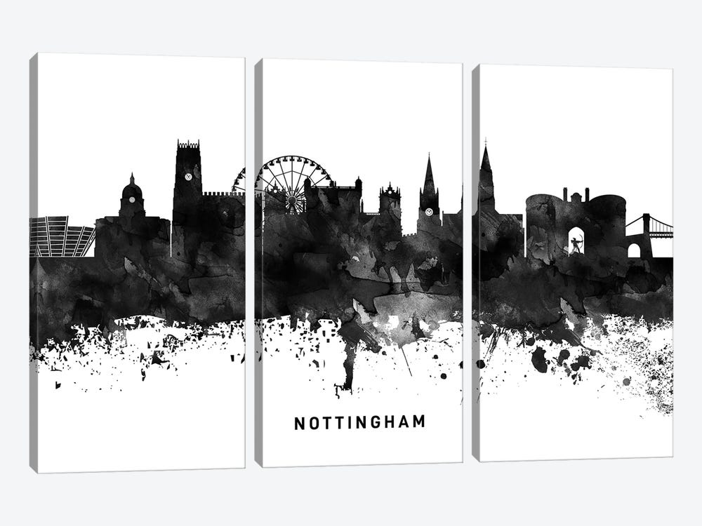 Nottingham Skyline Black & White by WallDecorAddict 3-piece Canvas Artwork