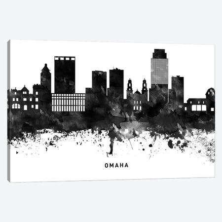 Omaha Skyline Black & White Canvas Print #WDA824} by WallDecorAddict Canvas Wall Art