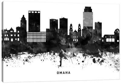 Omaha Skyline Black & White Canvas Art Print