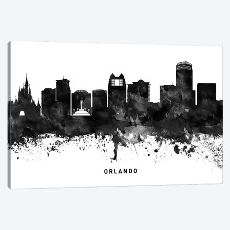 Orlando Skyline Black & White Canvas Print #WDA826} by WallDecorAddict Canvas Art