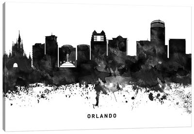 Orlando Skyline Black & White Canvas Art Print