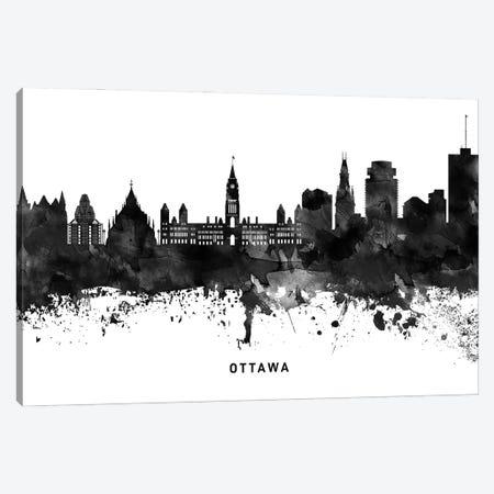 Ottawa Skyline Black & White Canvas Print #WDA828} by WallDecorAddict Art Print