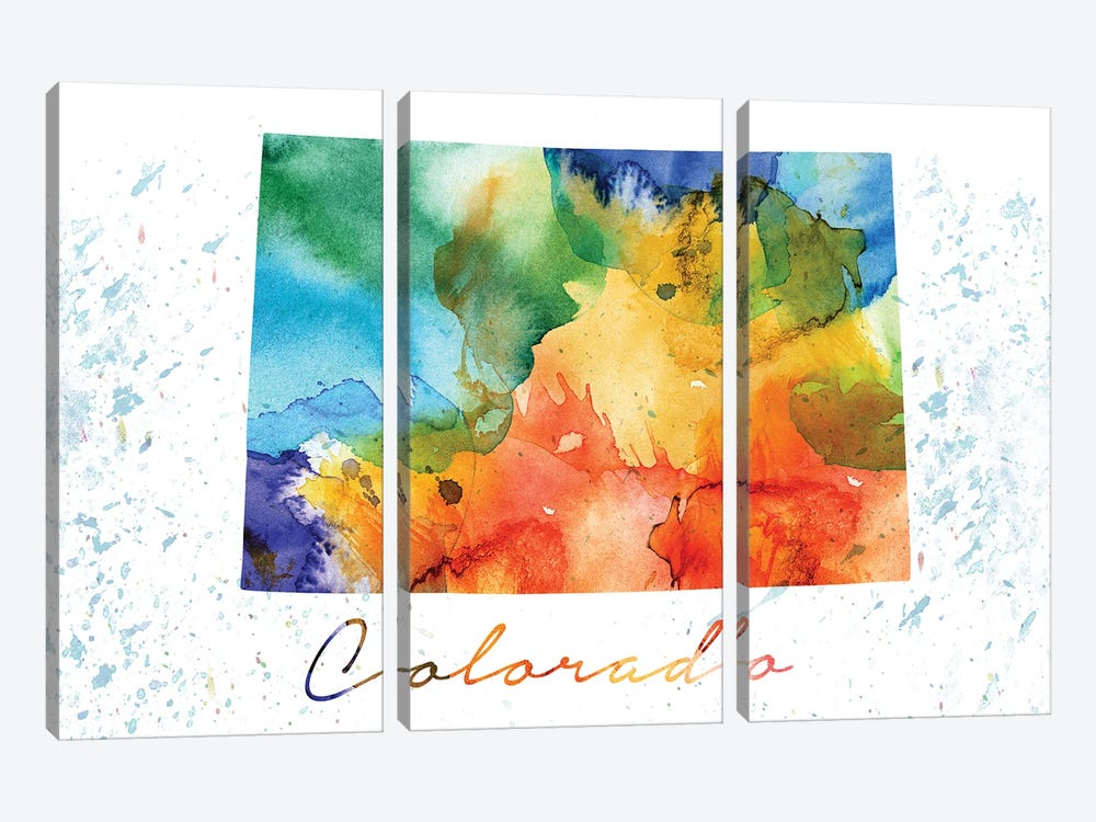 Colorado State Colorful by WallDecorAddict 3-piece Canvas Art Print