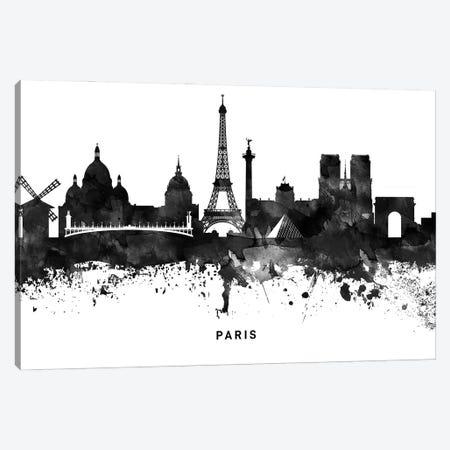Paris Skyline Black & White Canvas Print #WDA830} by WallDecorAddict Canvas Wall Art