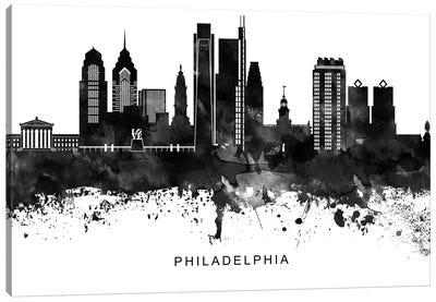 Philadelphia Skyline Black & White Canvas Art Print