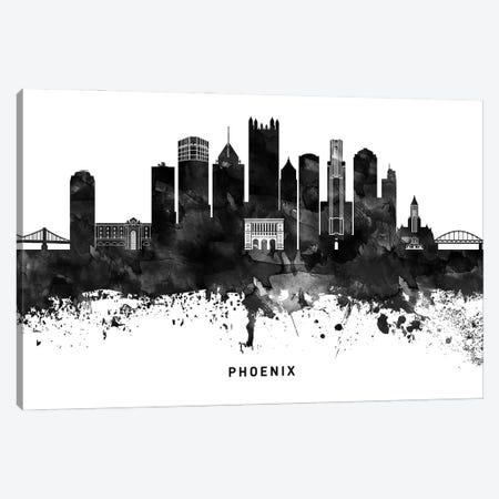 Phoenix Skyline Black & White Canvas Print #WDA833} by WallDecorAddict Canvas Art