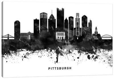 Pittsburgh Skyline Black & White Canvas Art Print