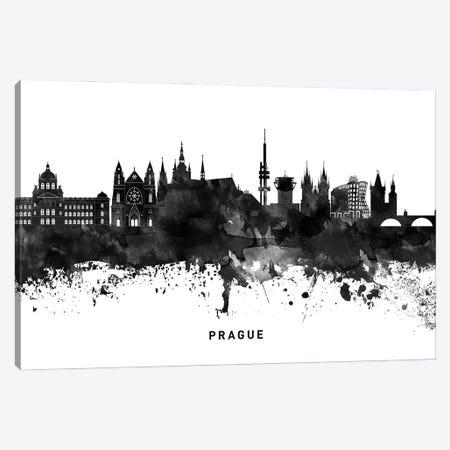Prague Skyline Black & White Canvas Print #WDA836} by WallDecorAddict Canvas Art Print