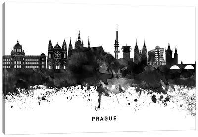 Prague Skyline Black & White Canvas Art Print