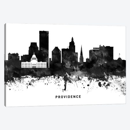 Providence Skyline Black & White Canvas Print #WDA837} by WallDecorAddict Canvas Art Print