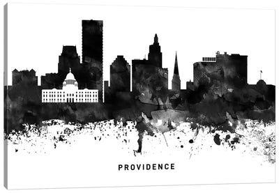 Providence Skyline Black & White Canvas Art Print
