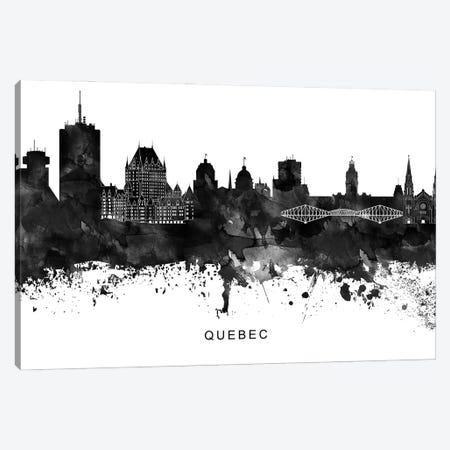 Quebec Skyline Black & White Canvas Print #WDA838} by WallDecorAddict Canvas Artwork