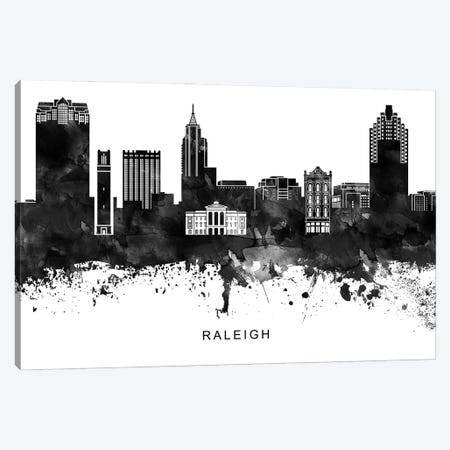 Raleigh Skyline Black & White Canvas Print #WDA839} by WallDecorAddict Canvas Art