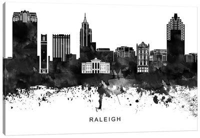 Raleigh Skyline Black & White Canvas Art Print
